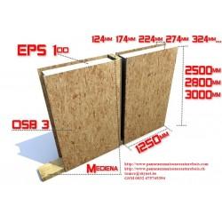 Panneaux double face OSB3 avec polyruéthane SIP à partir de 124 mm d'épaisseur, 1250 mm de largeur