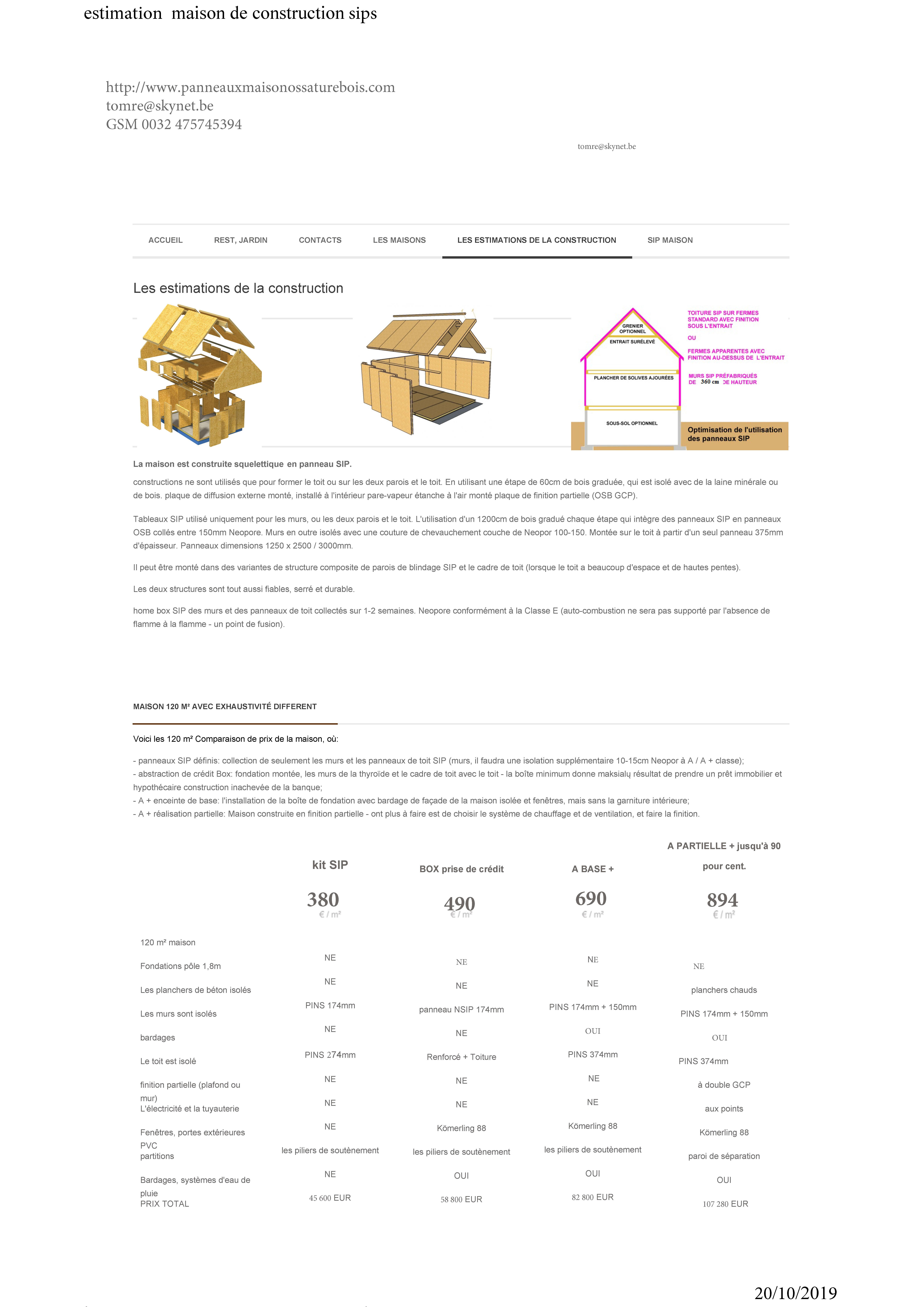 Estimation maison de construction sips