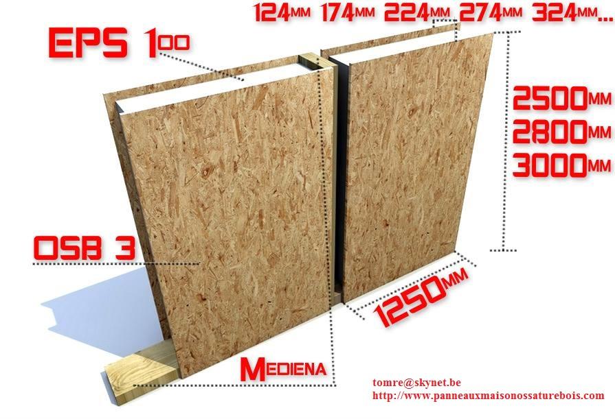 Panneaux double face OSB3 avec polyuréthane SIP 274 mm x 2800 mm x 1250 mm Prix 105.71 Euro le M²
