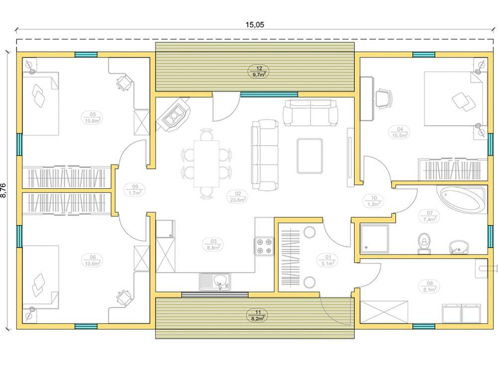 Kit maison 103 m² panneaux sips httpwww.panneauxmaisonossaturebois.com (2)
