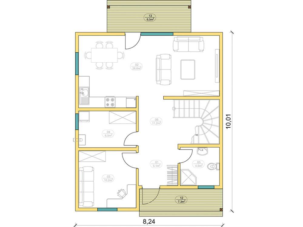 Kit maison 122 m² panneaux sips httpwww.panneauxmaisonossaturebois.com (2)