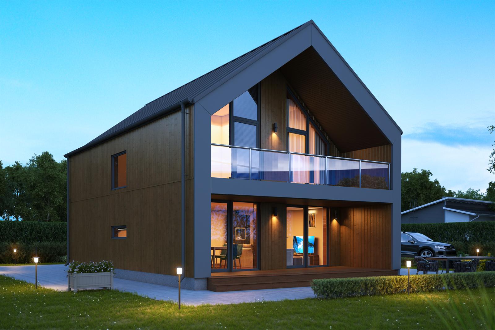Panneaux maison ossature bois Nordi 01 L 133 m²