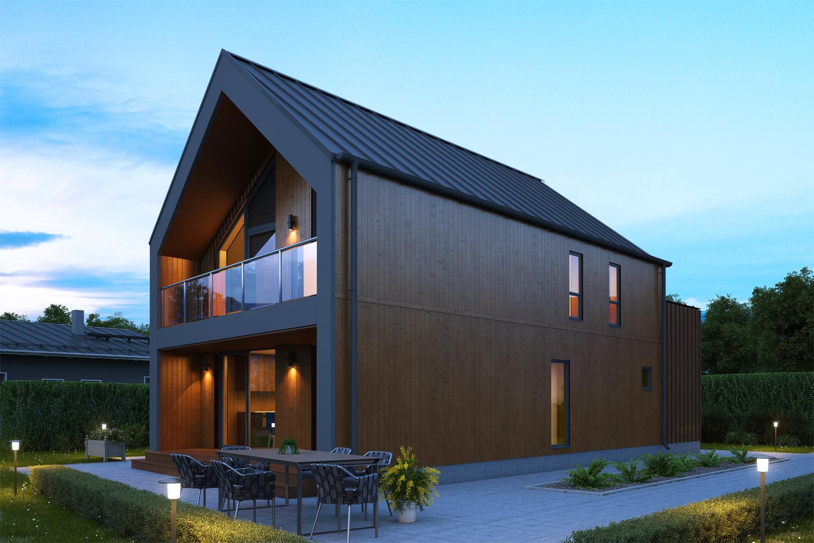 Panneaux maison ossature bois Nordi 02 L 133 m²