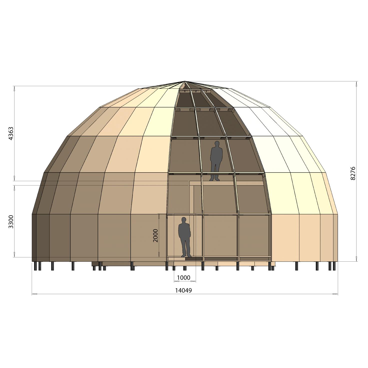 Dome 14 M dia 2 étages 280 m² 02
