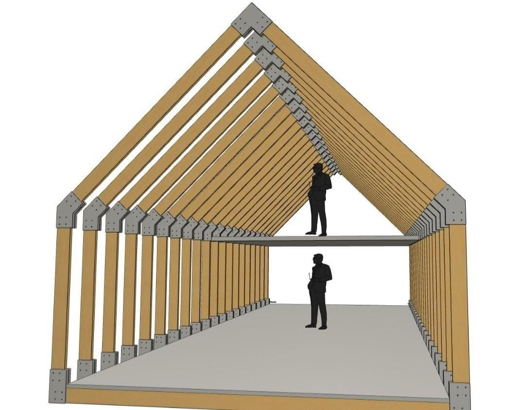 Grange morderne structure bois 60 M² + Meza 022
